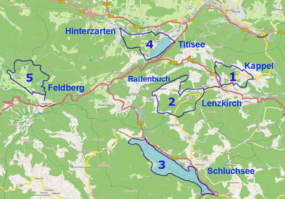 Black Forest Hiking Map Hikes And Walking Trails In Titisee - Germany map black forest